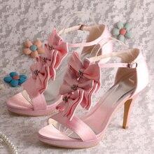 Wedopusสีชมพูหวานเปิดนิ้วเท้าแฮนด์เมดโบว์T-สายกริชส้นแพลตฟอร์มซาตินรองเท้าแต่งงาน