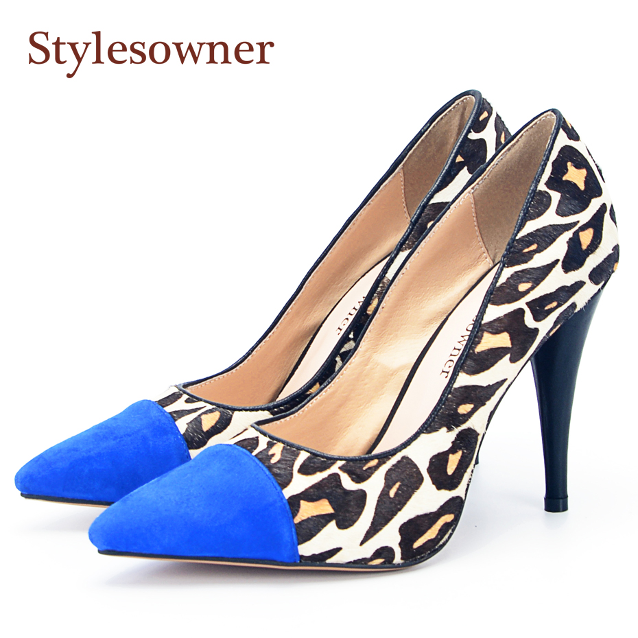 Stylesowner High Heel Lady Pumps Women Sexy Leopard Blue Pointed Toe Spike Heel Sandal Shoe Hottest Fashion Footwear Women stylesowner elegant lady pumps sandal shoe sheepskin leather diamond buckle ankle strap summer women sandal shoe
