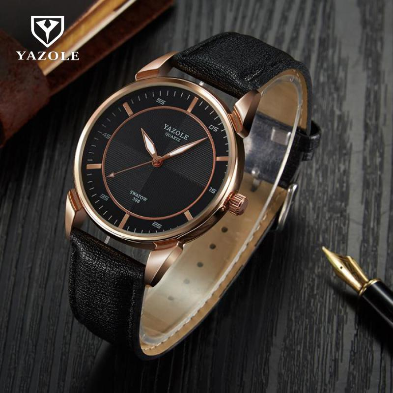 100% New YAZOLE Waterproof Simple Dress Leather Business Quartz Wrist Watch Gift Wristwatches for Men Black Brown 398