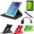 (Ручка + Пленка) + 2015 Новый 360 Поворот Флип Кожаный Чехол Tablet Чехол для Samsung Galaxy Tab E T560 T561 Случае Десять цветов
