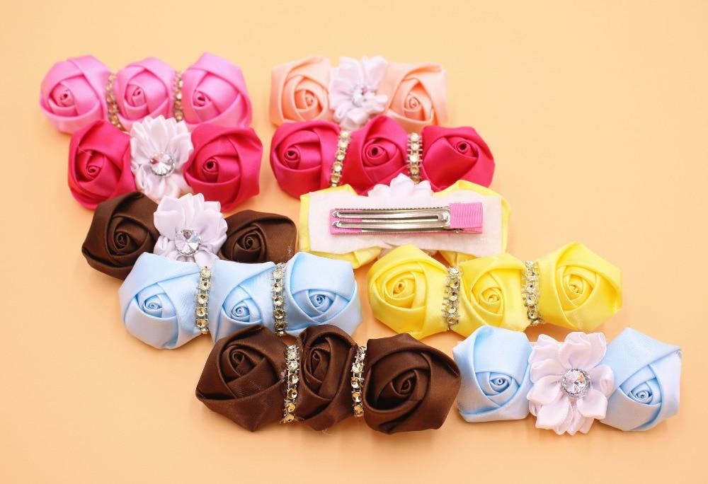 2Pes lot Fashion Boutique Grosgrain Ribbon Flowers Girl Kids Hair Clips Hair Accessories