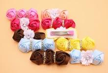 2Pes/lot Fashion Boutique Grosgrain Ribbon Flowers Girl  Kids Hair Clips Hair Accessories
