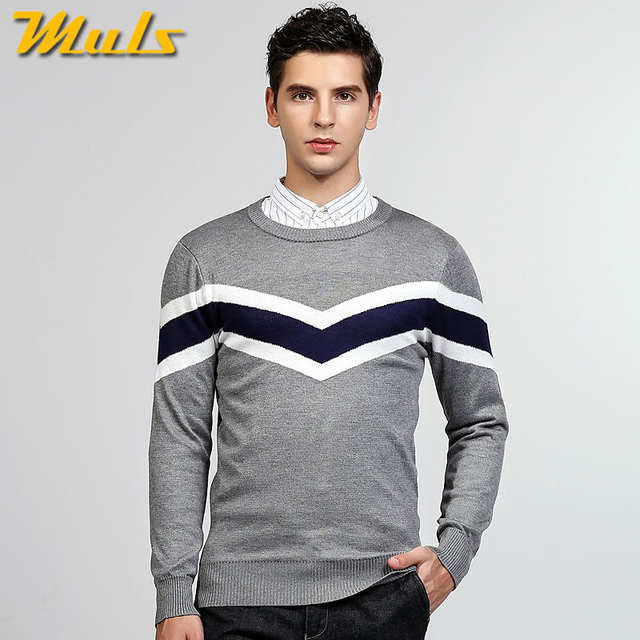 e077b3af9 Muls suéteres suéter hombres o cuello patrón casual rayas hombres suéteres  Otoño Invierno punto jersey para hombre vestido MS8921