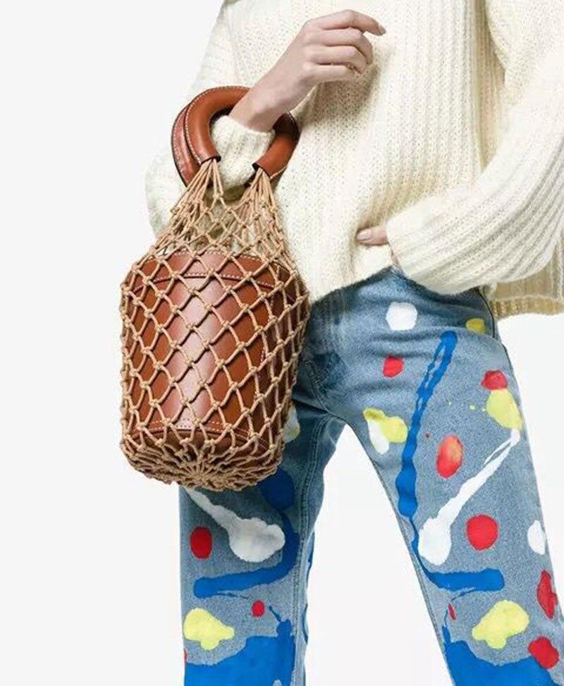 2018 nouveau Designer de luxe évider maille seau sac femmes mode coton noeud fourre-tout sac unique panier ravel sac de plage femme