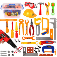 Hot 37Pcs/set Children Pretend Play Occupation Set Emulational Repair Kit Tool Toys Educational Box for Boys Birthday Gift
