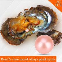 Wholesale Rose Pearls 30pcs Vacuum Packed Oysters With 6 7mm Round Akoya Pearls UPS Free Shipping