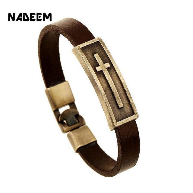 Мужской кожаный браслет nadeem коричневый винтажный на запястье