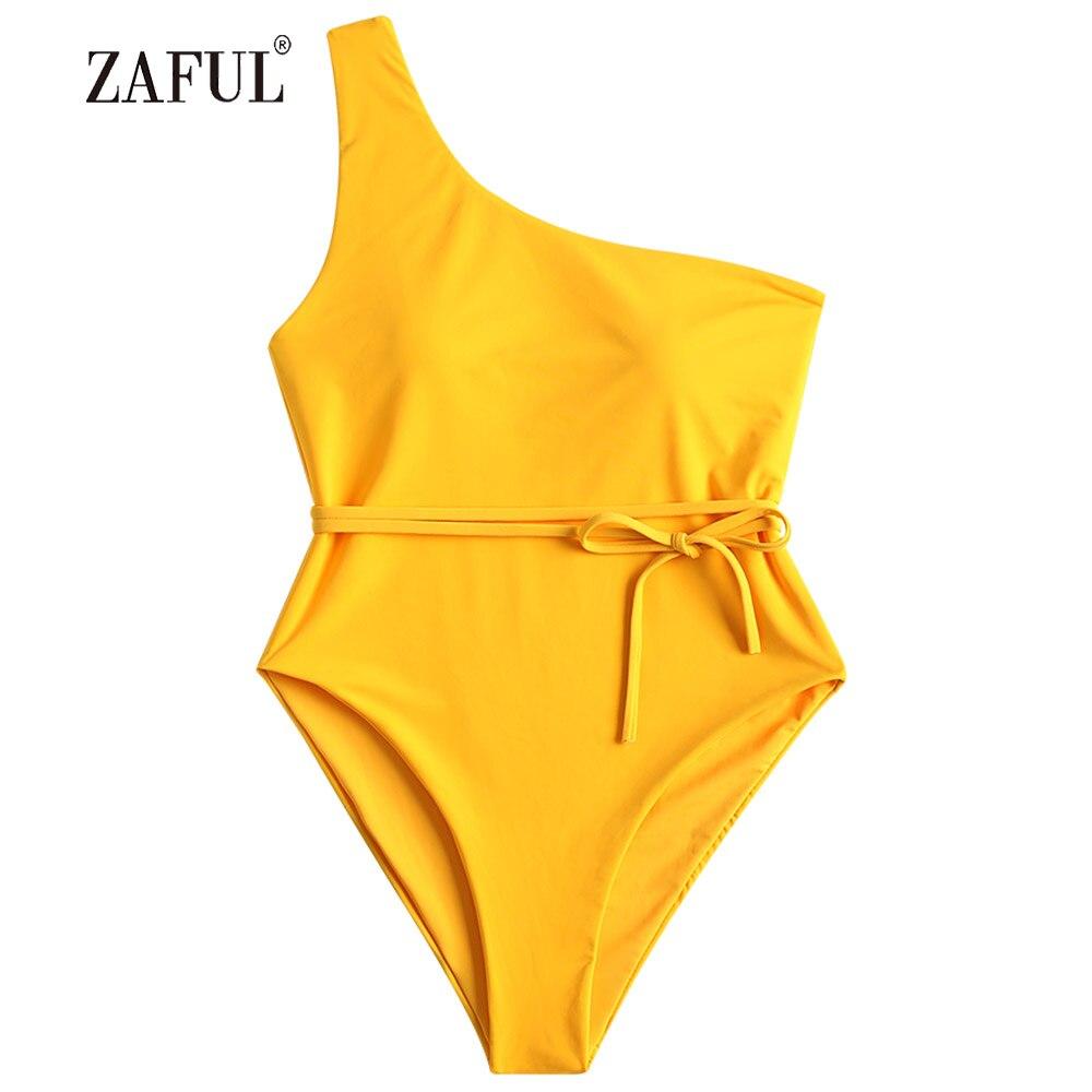ZAFUL One piece Swimwear Women Swimsuit Sexy One Shoulder Padded Swimsuit Solid Padded One Piece Bright Yellow Bathing Suit two tone one piece padded swimsuit