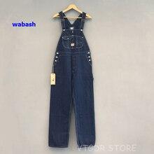 בוב דונג 40s שלוש in one Wabash פסים סרבל בציר גבוהה חזור ינס מכנסיים 40s רטרו מכנסיים
