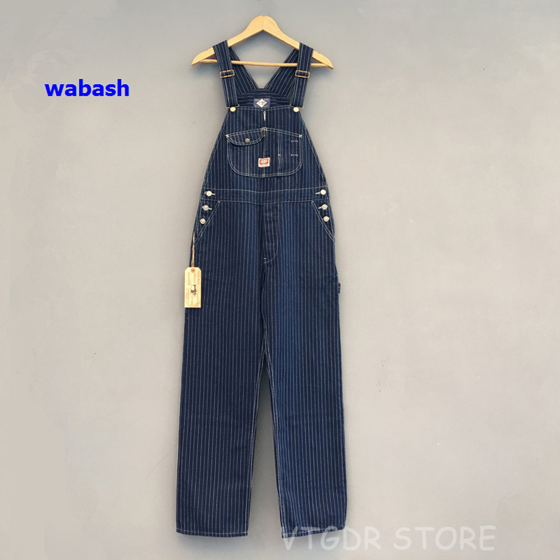 Bob Dong 40s Three-In-One Wabash Striped Overalls Vintage High Back Denim Pants 40s Retro Trousers