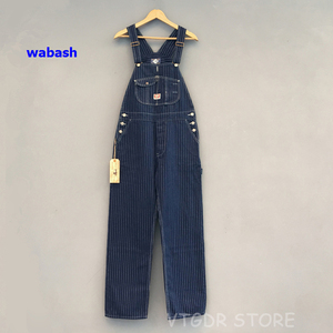 Image 1 - Bob Dong 40s trzy w jednym pasiaste kombinezony w stylu Vintage z wysokim oparciem spodnie dżinsowe 40s spodnie Retro