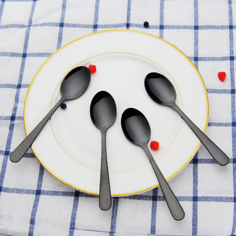 4PCS Black Plated Tea Spoon 304 Stainless Steel Black Mini Spoon Coffee Spoon