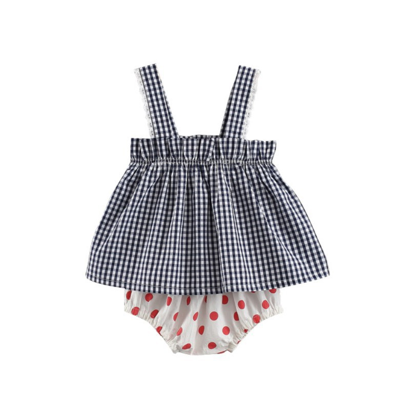 2018 Newborn Baby Girl Clothes Set Summer Plaid Shirt + Printing PP Shorts Set Fashion Baby Girl Clothes Set