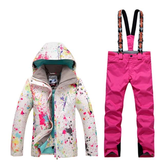 db9e4852d4 GSOU SNOW Winter Ski Jacket+Pants Womens Snowboarding Suits Super  Waterproof Breathable Ski Suit Female send DHL3-7