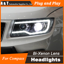 A&T Car Styling LED Head Lamp for Jeep Compass Headlights 2012-2015 New LED Headlight DRL H7 Hid Option Angel Eye Bi Xenon Beam