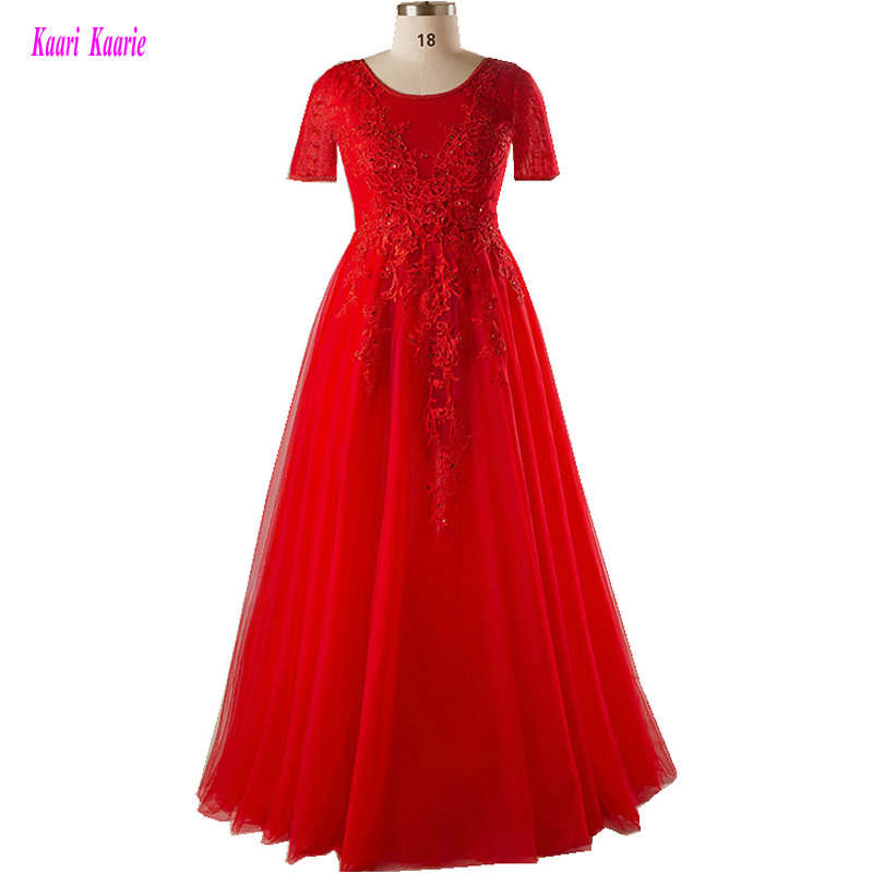 Junoesque Red Plus Size   Evening   Gowns Long 2019 O-Neck Tulle Appliques   Evening   Party   Dresses   woman Formal Mother   Evening     Dress