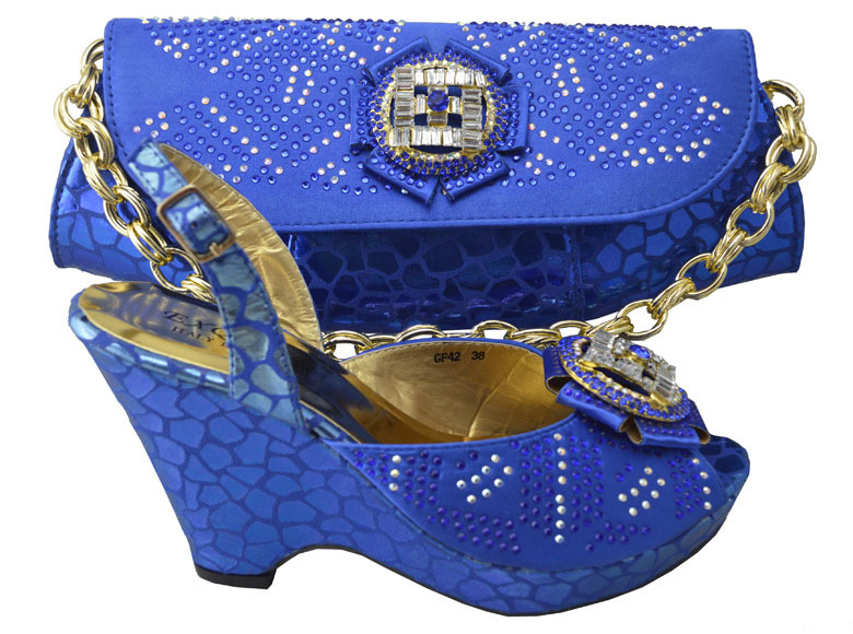 ФОТО royal blue!free shipping african shoes and bags set for wedding,ladies pumps high heel with toe bag set! HP1-42