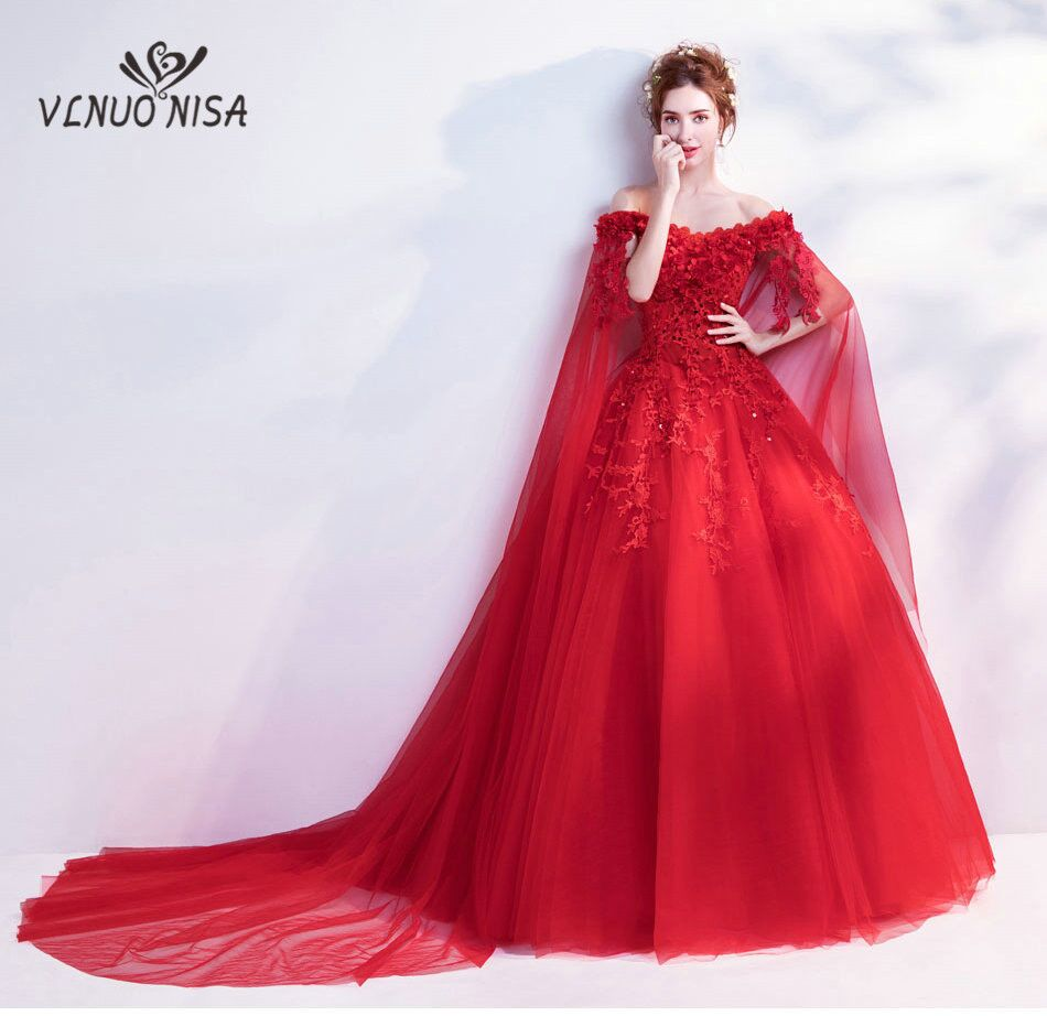 Romaintic Sexy boat neck off shoulder Wedding Dress 2018 Luxury Court Train Rose Floral Print Bride wedding gown Lace Appliques
