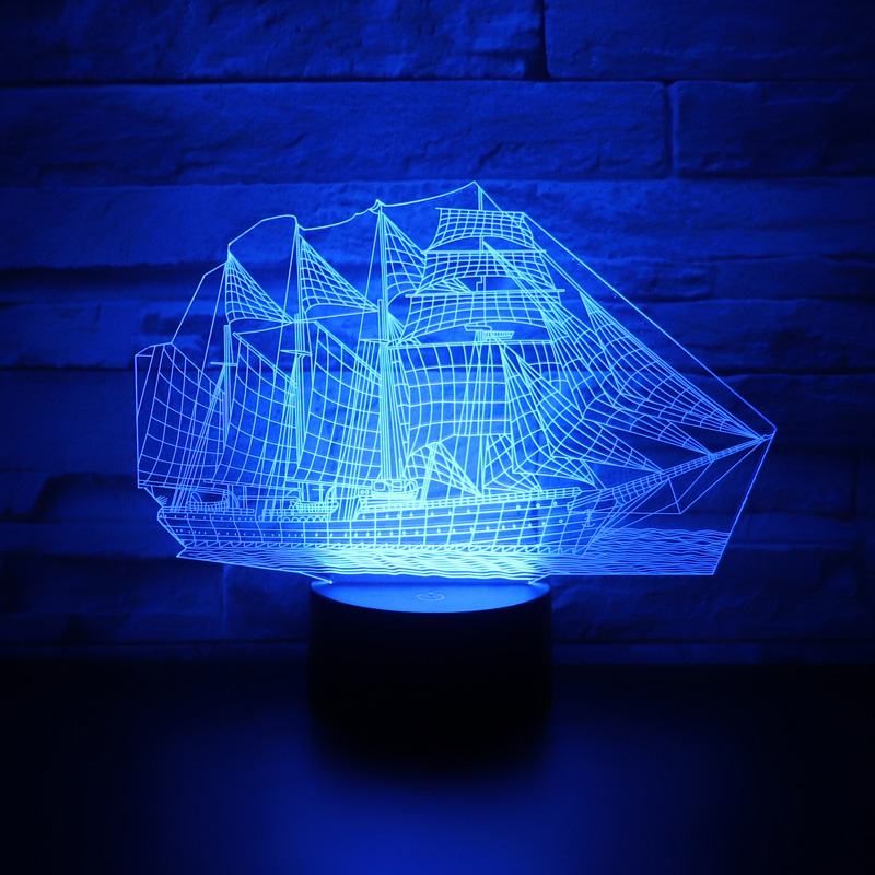3D LED Night Light Ship Sailboat with 7 Colors Light for Home Decoration Lamp Amazing Visualization Optical Illusion Awesome3D LED Night Light Ship Sailboat with 7 Colors Light for Home Decoration Lamp Amazing Visualization Optical Illusion Awesome