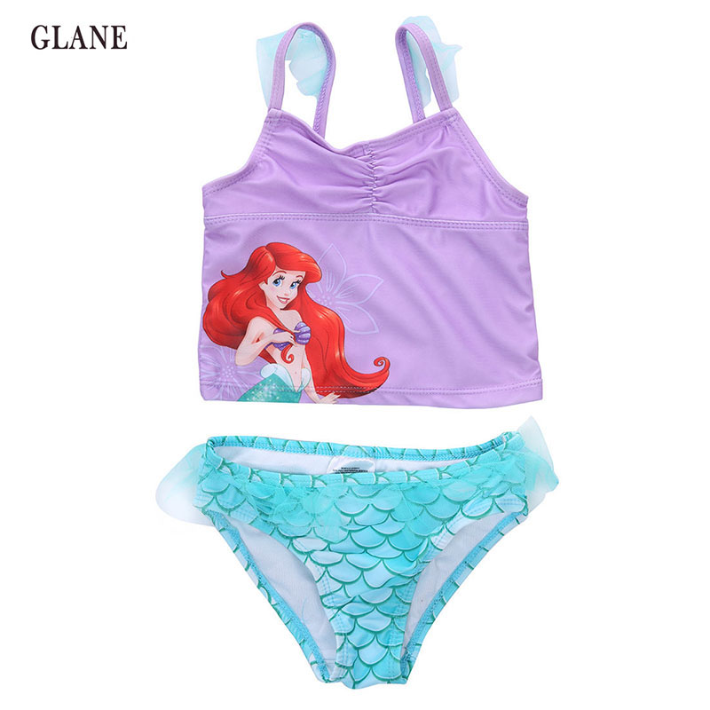 One Pieces Baby Girls Bathing Suit Swimsuit Children Bikini Set Kids Cartoon Swimwear Costumes 3-6Y