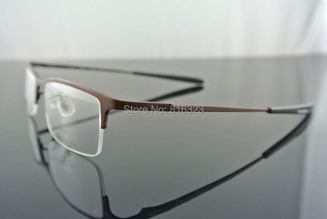 306162ef9503 Men s Luxury Pure Titanium Eyeglass Frames Coffee Half-Rim Glasses  Eyeglasses