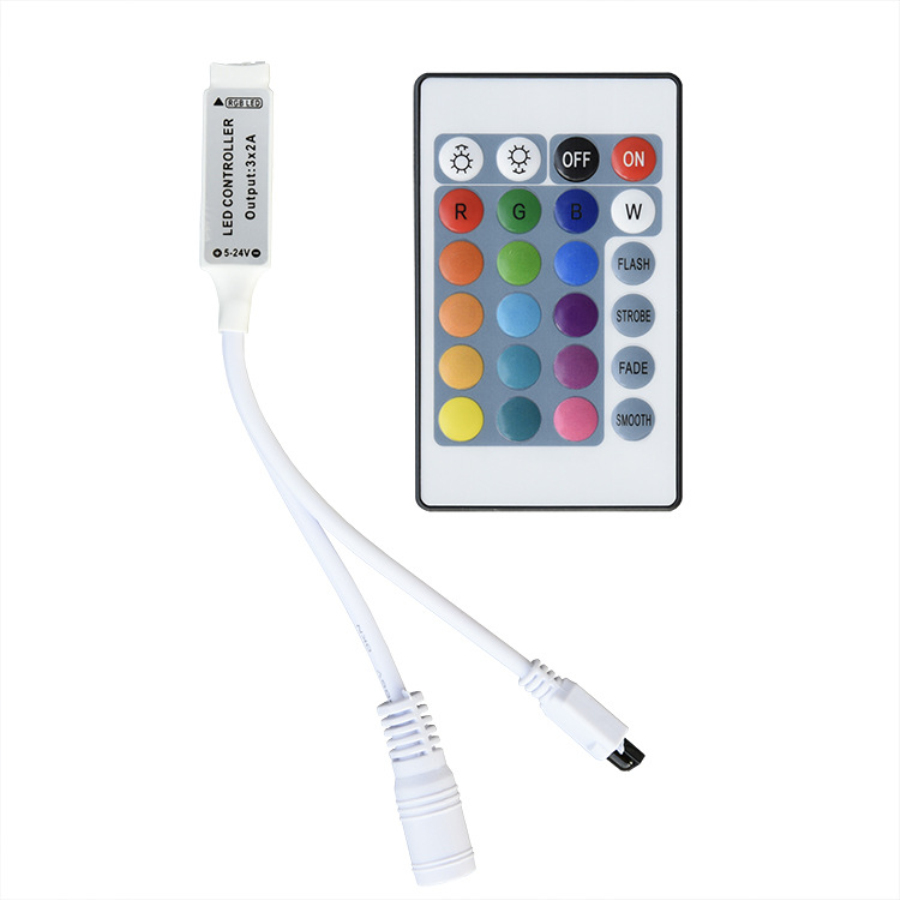 LED Controller 24 Keys IR LED RGB Controller Mini Strip Lights Remote Control Dimmer DC12V 6A For RGB 2835 5050 LED Lamp