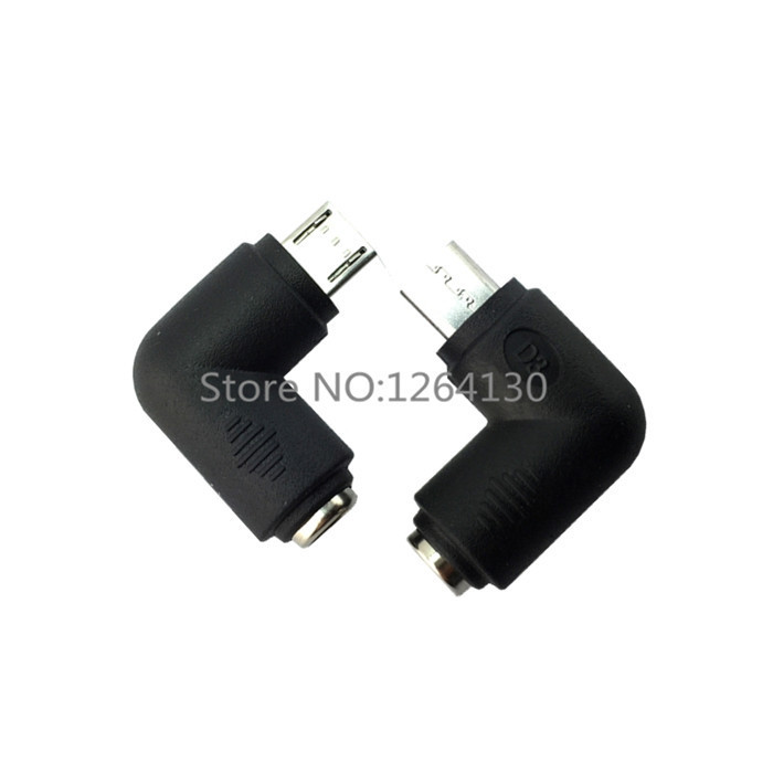 DC 5 5x2 1 mm Jack To Micro USB B 5P Right Angle Male Power Adapter Connector for Samsung Phones And Other in Power Cables from Consumer Electronics