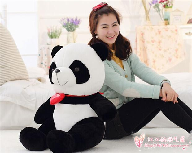red heart love panda plush toy, large 75cm panda throw pillow birthday gift h775 lovely giant panda about 70cm plush toy t shirt dress panda doll soft throw pillow christmas birthday gift x023