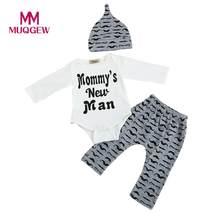 4bd006e8cc92a MUQGEW vetement enfant garcon mignon 3 pièces ensemble nouveau-né bébé  garçon barboteuse hauts + longs pantalons chapeau tenues .