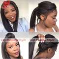 Fast Shipping heat resistant Black color wig High Ponytail straight synthetic lace front wig For Black Women With Baby Hair