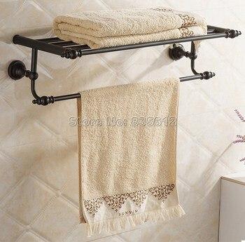 Bathroom Accessory Double Black Oil Rubbed Bronze Towel Rail Holder Storage Rack Shelf Bar Wall Mounted Wba821