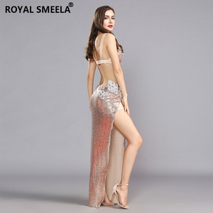Image 5 - 2020 Womens Belly dance Bra Skirts Professional Outfit 2pcs Sequin Bling Mermaid Dance Costume Set belly dance costume 119060