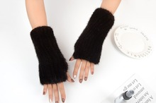 MIARA.L  wholesales mink furs furs hand knitting dew finger half finger thickens warm winter to protect the long glove wrist недорого