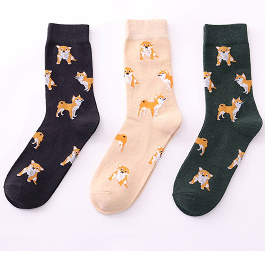 2018 New Cute Kawai Cartoon Women Combed Cotton Socks Women Funny Gift Shiba Inu Cat Pig Corgi Lovely Animal Pattern