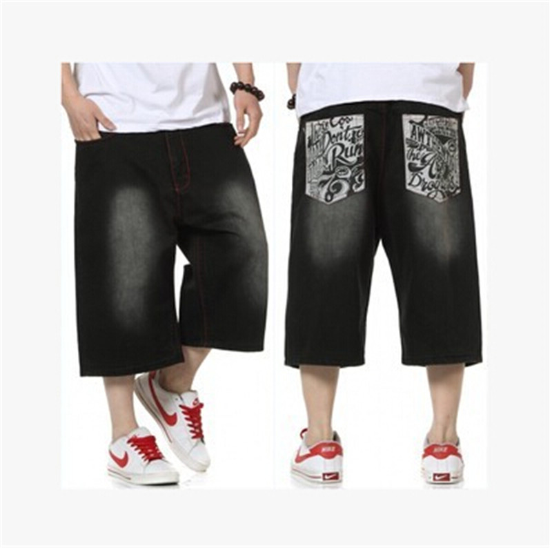 Big size 30 46 short black hip hop baggy jeans summer hiphop loose american and european