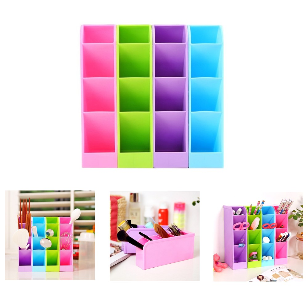 1pcs candy color underwear socks stationery tableware plastic box cosmetics makeup storage bins cube organizer