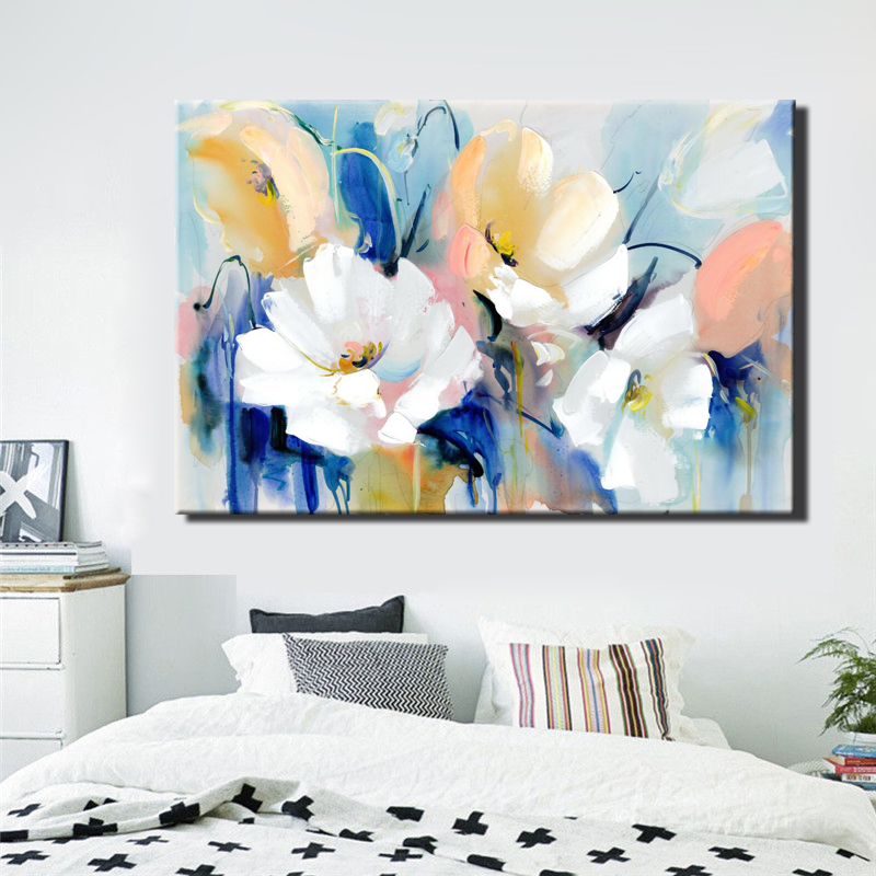 HTB119mrc8jTBKNjSZFuq6z0HFXa0 Modern Watercolor Flowers Wall Painting Hand Painted Poppy Flowers Print on Canvas Wall Picture For Living Room Home Decor Gift