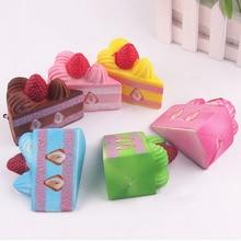 Squishy Slow Rising Strawberry Cake Jumbo Kawaii Phone Strap Bread Stretchy Kids Toy