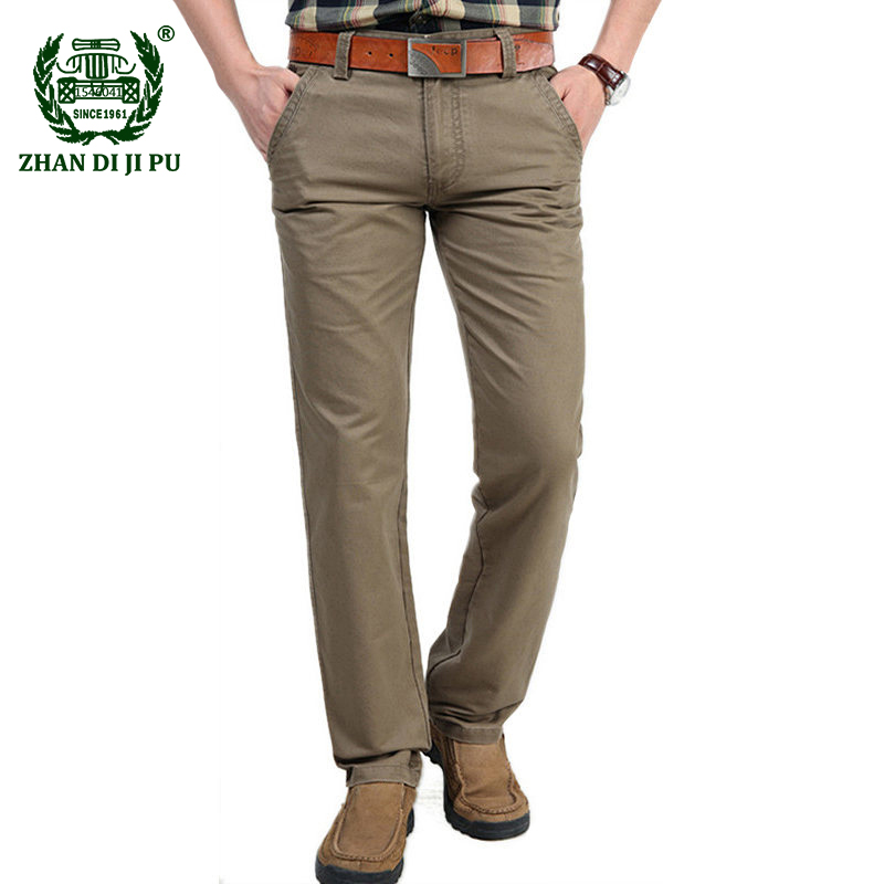 2018 Autumn business men's casual brand straight khaki pants high quality 100% cotton pant spring man afs jeep army long trouser afs jeep winter men s long trousers mens straight jeans casual loose waistline autumn long trouser man male botton plus size 42