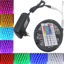 SMD 5050 rgb LED Strip light 5M 10m  60Leds/m DC12V led tape ribbon diode flexible waterproof 44keys Controller Power Supply set