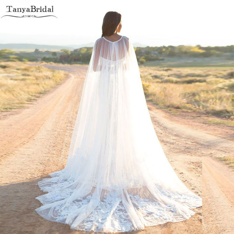 Lace Appliques Tulle Wedding Cape Elegant Bridal Accessories Women Evening Shawl cape mariage DJ021