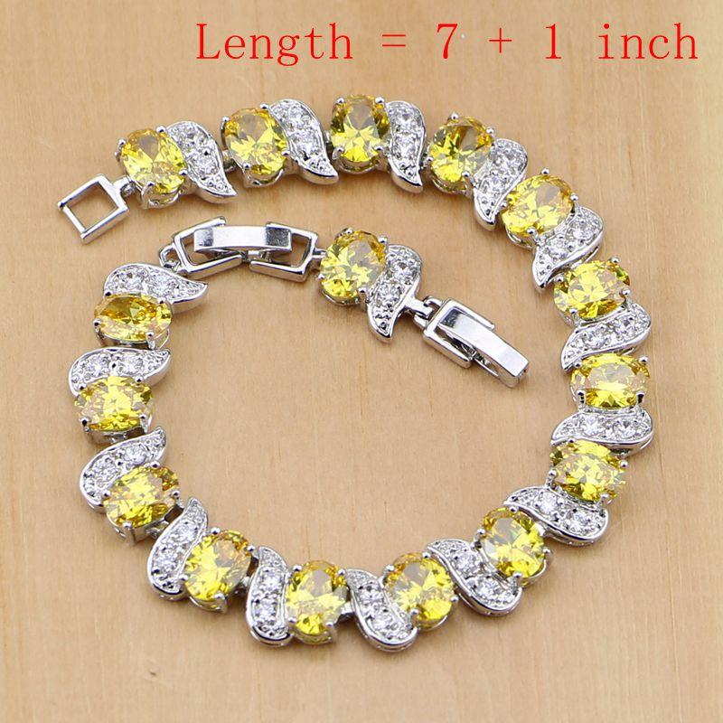 Trendy 925 sterling sølv brude smykker gule cubic zirconia smykker - Mode smykker - Foto 2