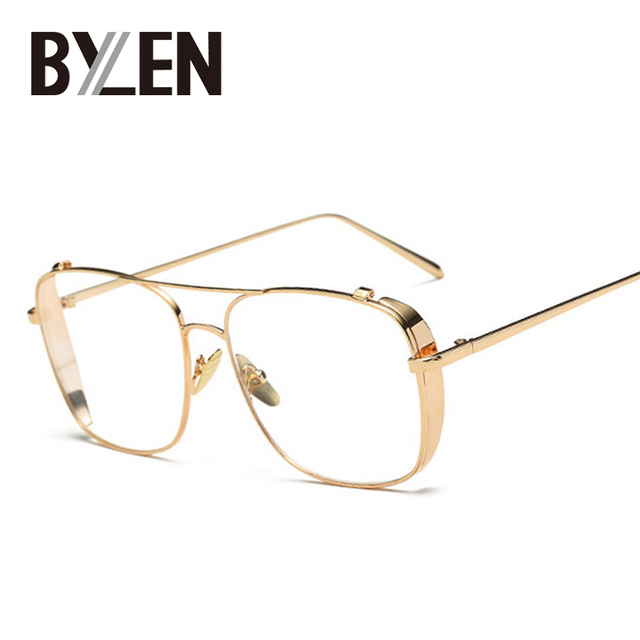 4fd87bcb67d Vintage Square Gold Clear Eyeglasses Frames Women Myopia Glasses Men  Transparent Optical Eyeglasses Oversized Punk Eyewear Frame