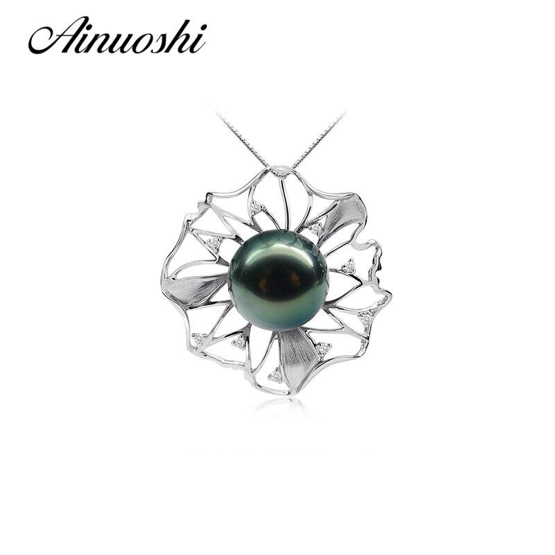 AINUOSHI naturel mer du sud noir Tahiti perle 11-12 ronde perle collier pendentifs 925 en argent Sterling fleur en forme de pendentifs
