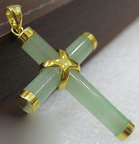 Natural Light Green Jadeite Yellow Cross Pendant with Necklace