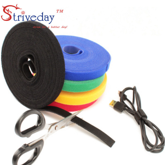10 Meters/roll magic tape nylon cable ties Width 1 cm wire management cable ties 4 colors to choose from DIY