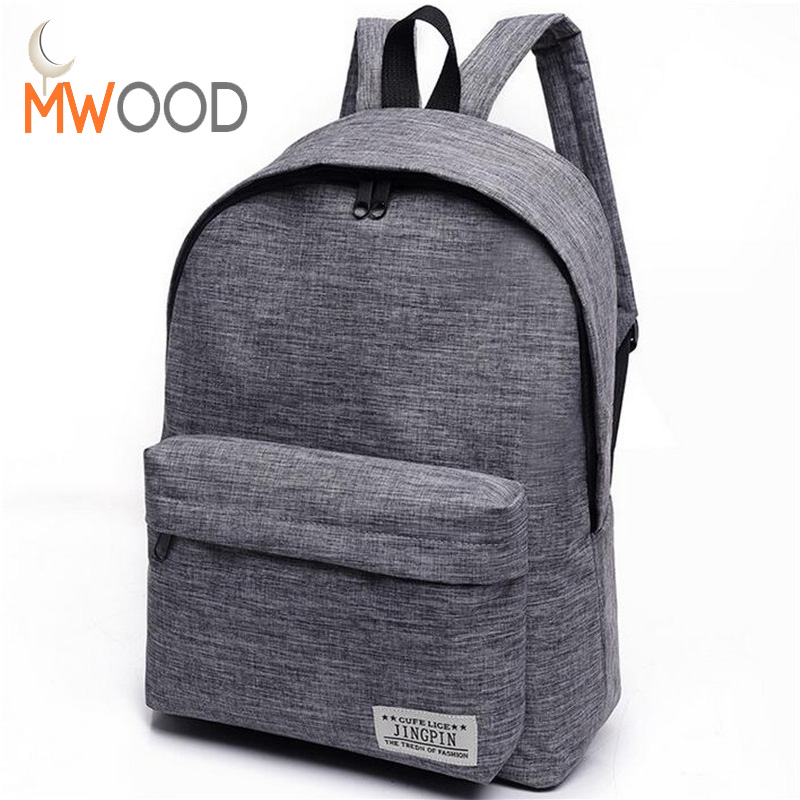 Moon Wood 2017 Canvas Men Women Backpack College High Middle School Bags For Teenager Boy Girls Casual Laptop Travel Backpacks chic canvas leather british europe student shopping retro school book college laptop everyday travel daily middle size backpack