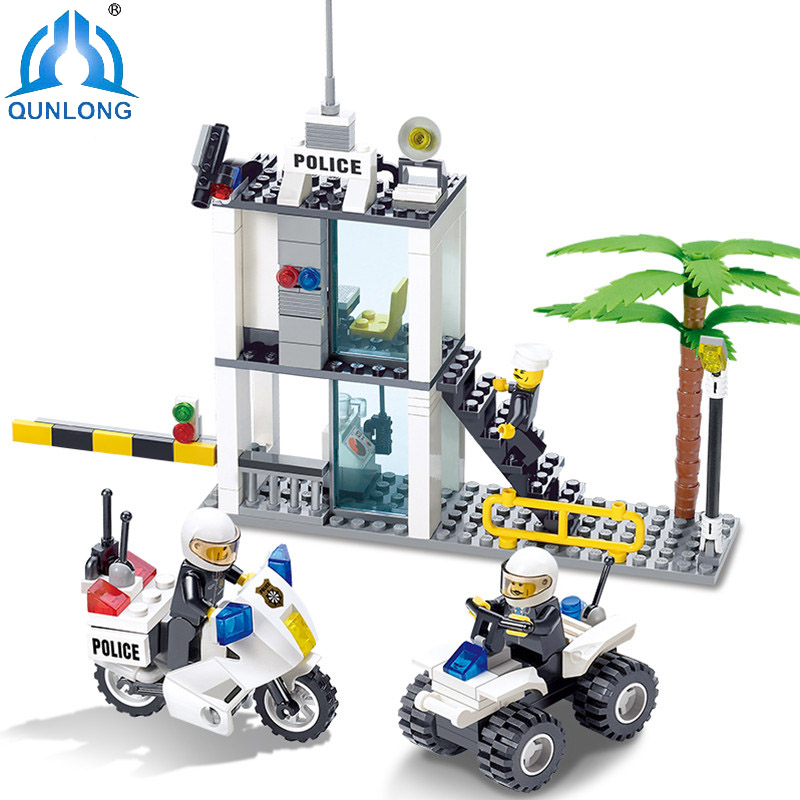 193pcs Police Station Building Blocks Compatible Legoe City Toys For Children Gift Police Command Cente Construction Bricks Toys 6727 city street police station car truck building blocks bricks educational toys for children gift christmas legoings 511pcs
