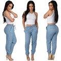 S-XL Light/Dark Blue Loose Dance Joggers Long Pants Elastic Waist Pants Women Casual Trousers
