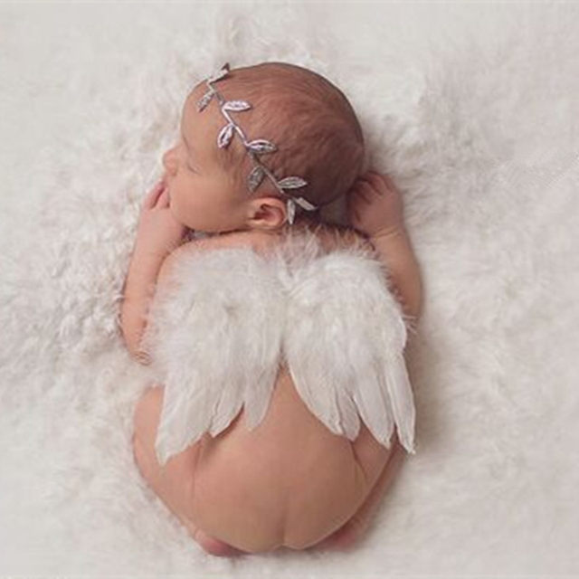 Newborn photography props fashion baby kids photography costume leaves headband angel feather wings photography accessories